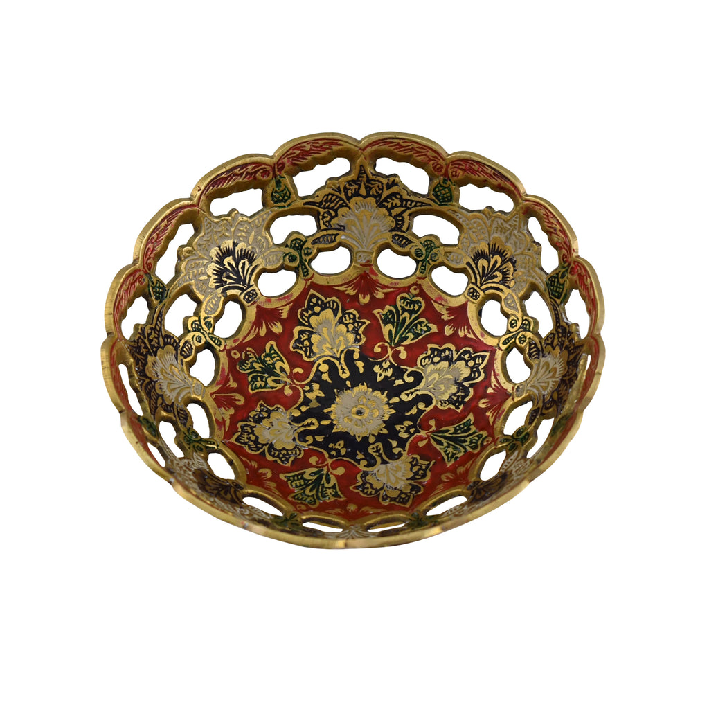 Trident EXIM Handmade Enamel Brass Home Decor , Mesh engraved and Painted Enamel Decorations Of High Quality & Purity Brass Bowl
