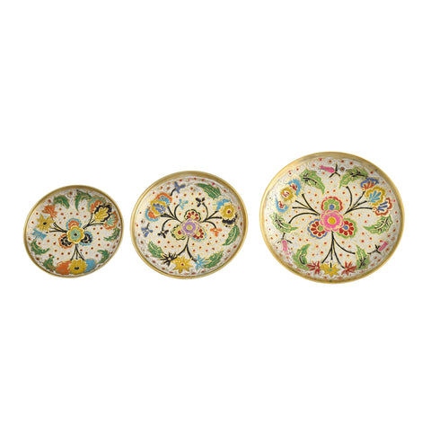 Plate Set, Handmade Brass Home Décor | Painted & Engraved Decorations Of High Quality & Purity