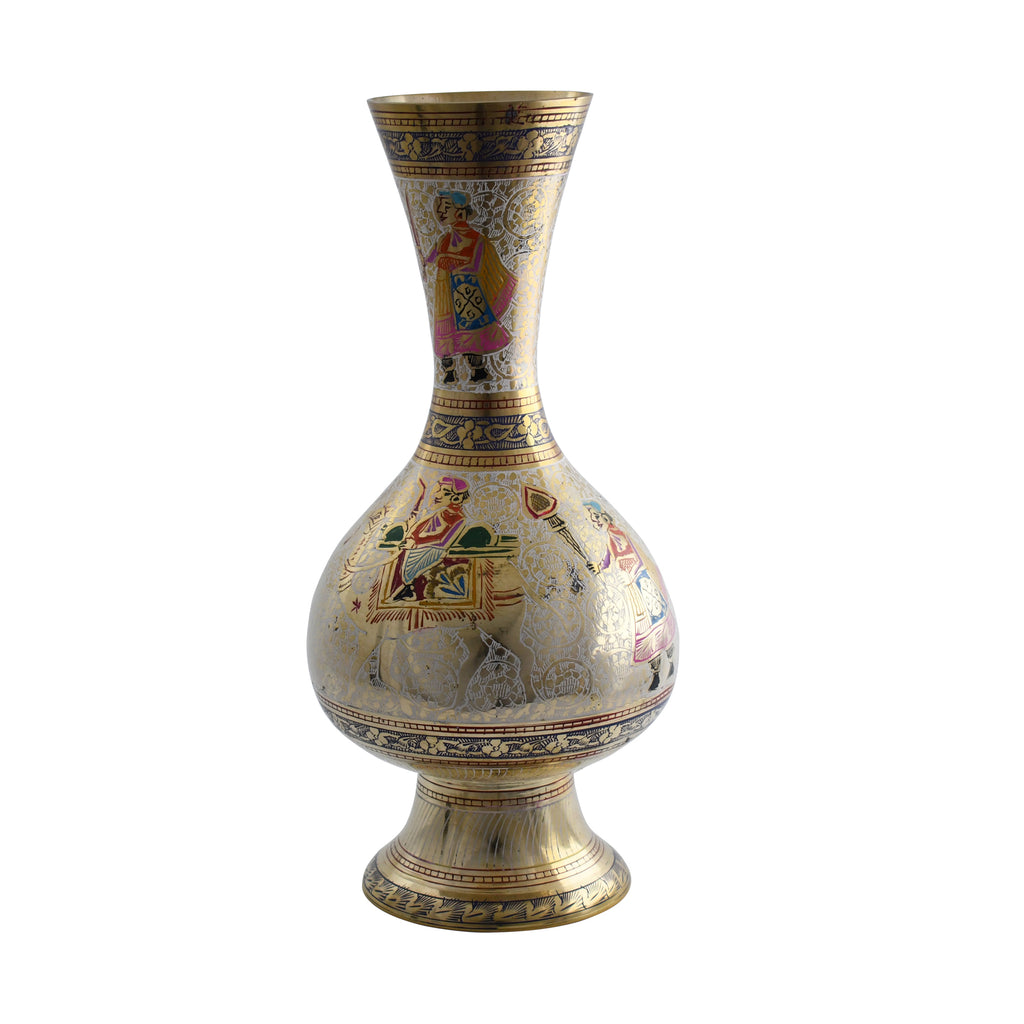 Trident EXIM Handmade  Brass Home Decor Vase , Painted & Engraved Decorations Of High Quality & Purity