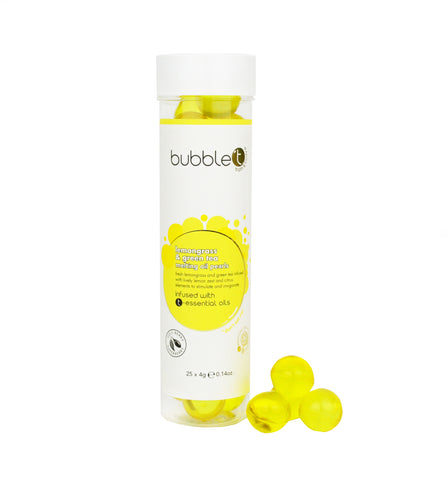 Bubble T Bath pearls in Lemongrass & green Tea