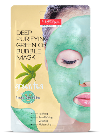 Purederm Deep Purifying Green O2 Bubble mask- GREEN TEA