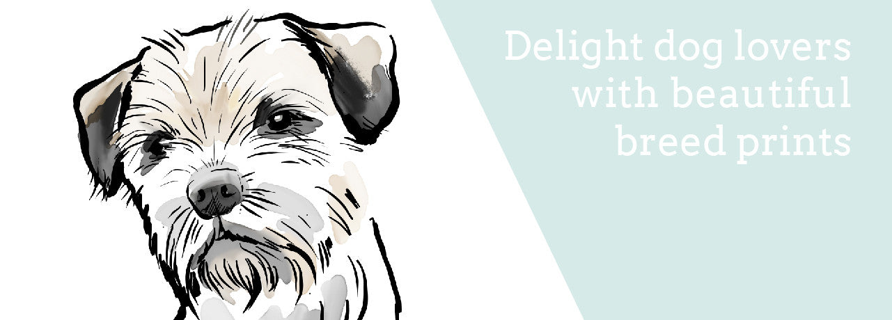 dog breed prints, border terrier print