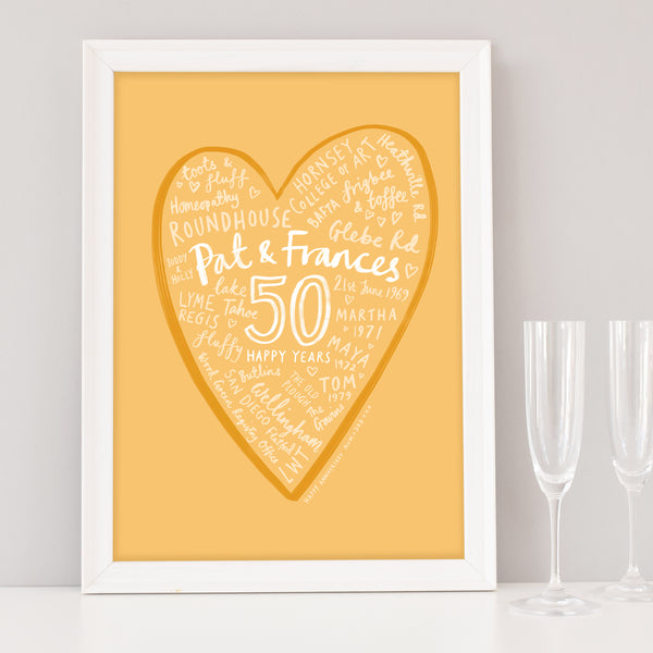 Golden 50th Wedding Anniversary Word Cloud Heart