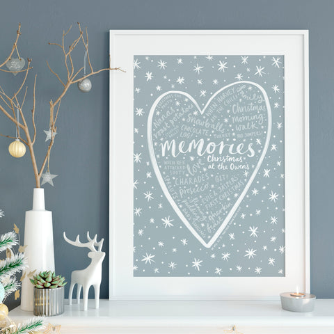 Personalised Christmas Memories word cloud print