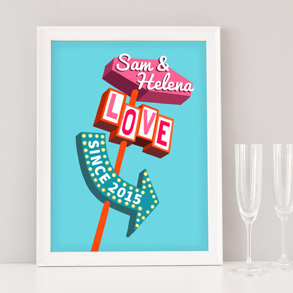 Personalised 'Love' Diner Sign Print
