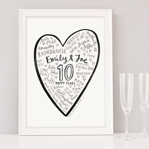 Wedding Anniversary Personalised Heart Word Art