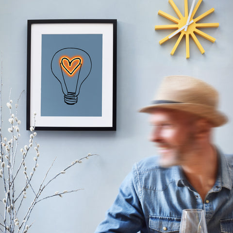 Contemporary Heart Lightbulb Art Print