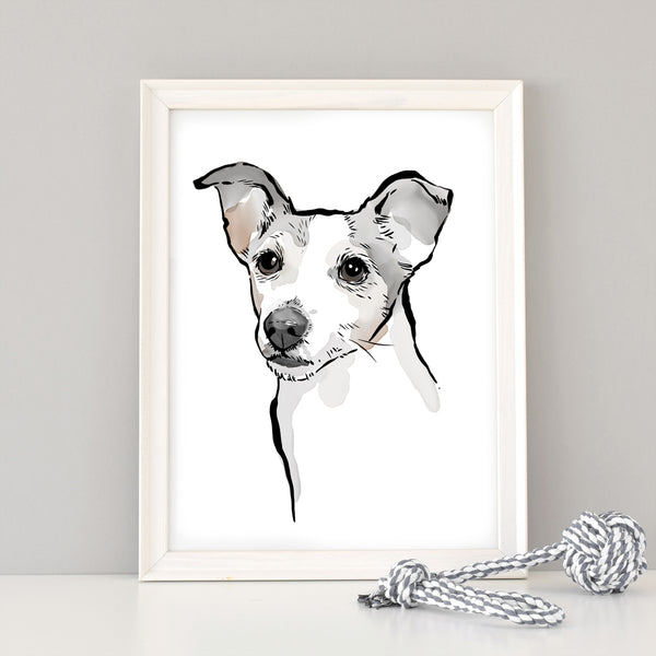 Custom Dog Portrait Art in watercolour style