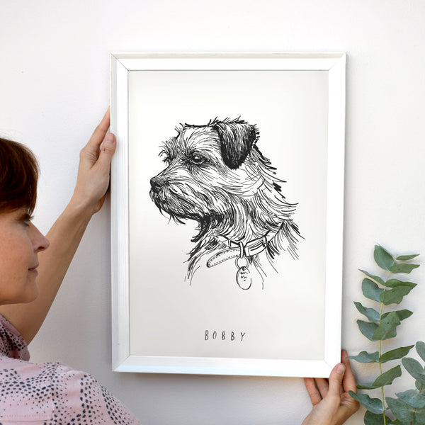 Dog Portrait in pen and ink style