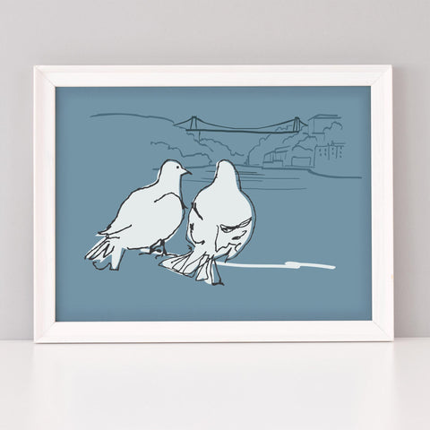 Bristol Pigeons Art Print, Clifton suspension Bridge