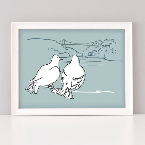 Bristol Wedding and Anniversary gift, Love Birds Art Print in light blue