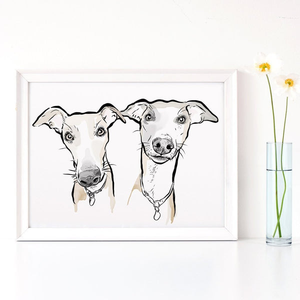 Scribble Print Studio Custom Artwork Custom Dog Portrait Art in watercolour style