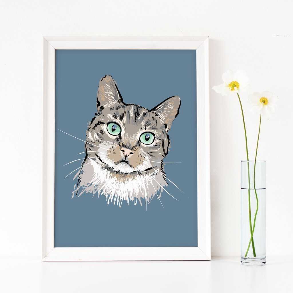 Scribble Print Studio Custom Artwork Custom Sketchy Cat Portrait