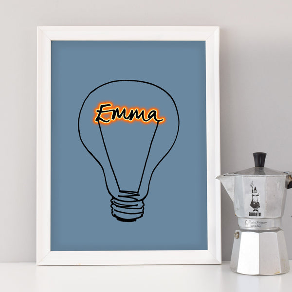 Scribble Print Studio Custom Artwork Personalised lightbulb art print
