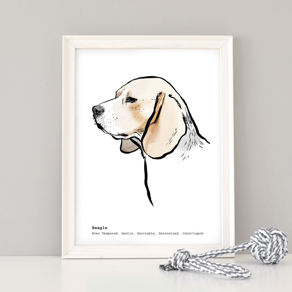 Scribble Print Studio Dog Breeds Personalised Beagle Print