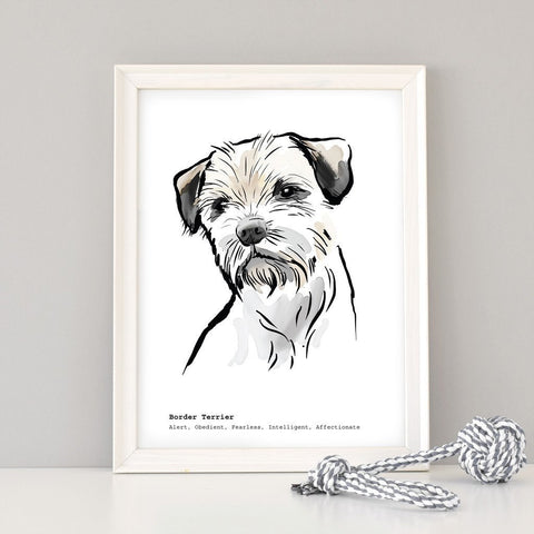 Scribble Print Studio Dog Breeds Personalised Border Terrier Print