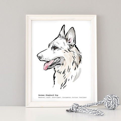 Scribble Print Studio Dog Breeds Personalised German Shepherd Dog Print