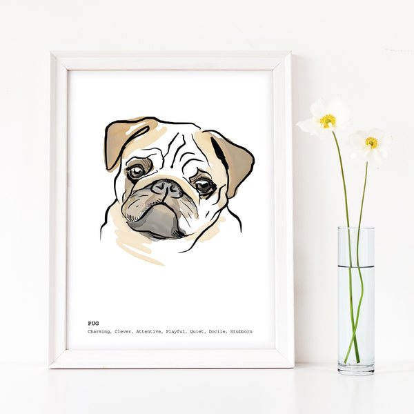 Scribble Print Studio Dog Breeds Pug Art Print