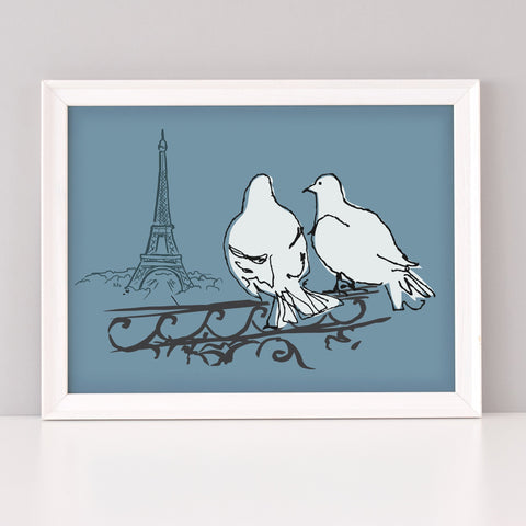 Scribble Print Studio Paris Pigeons Art Print