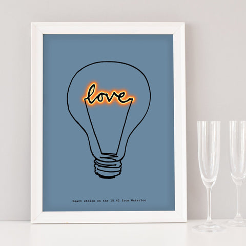 Scribble Print Studio Romantic 'Love' Lightbulb Art Print