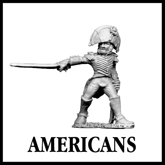 28mm scale lead metal miniature toy soldier from Wargames Foundry war of 1812 american infantry officer with sword pointed