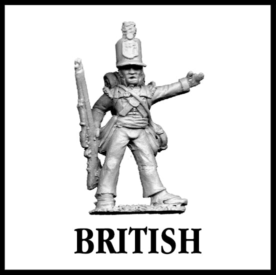 28mm scale lead metal miniature toy soldier from Wargames Foundry War of 1812 British Infantry Command figure with arm out and gun