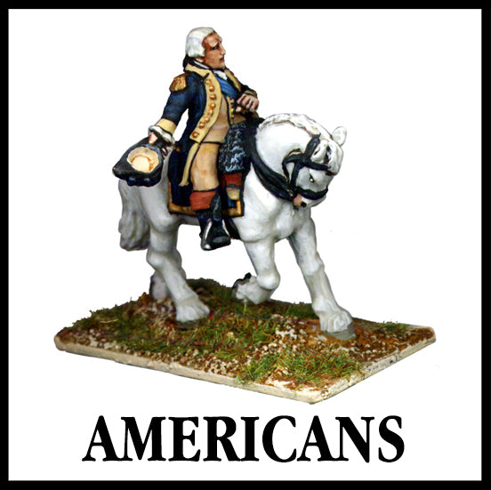 28mm scale lead metal miniature toy soldier from Wargames Foundry American War of Independence George Washington on horse holding hat