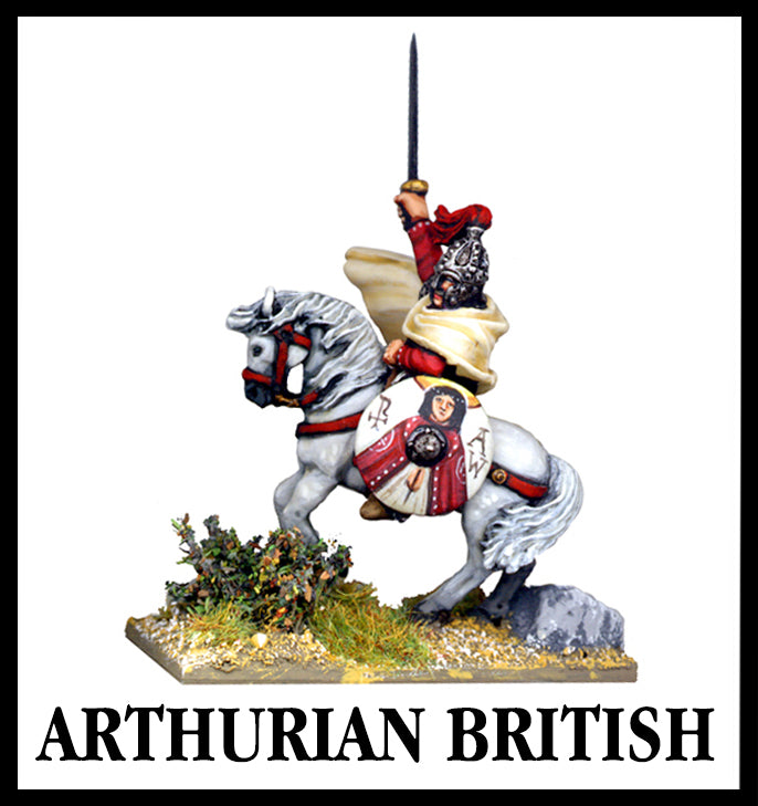 Arthurian British 28mm lead miniatures king Arthur riding horse in to battle with sword in the air from Foundry Miniatures.