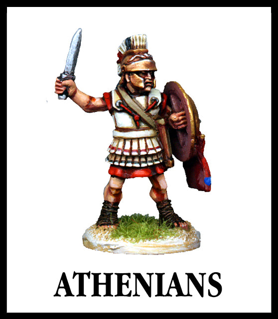 28mm scale lead metal miniature toy soldier from Wargames Foundry World Of The Greeks armoured athenian with helmet, sword and shield