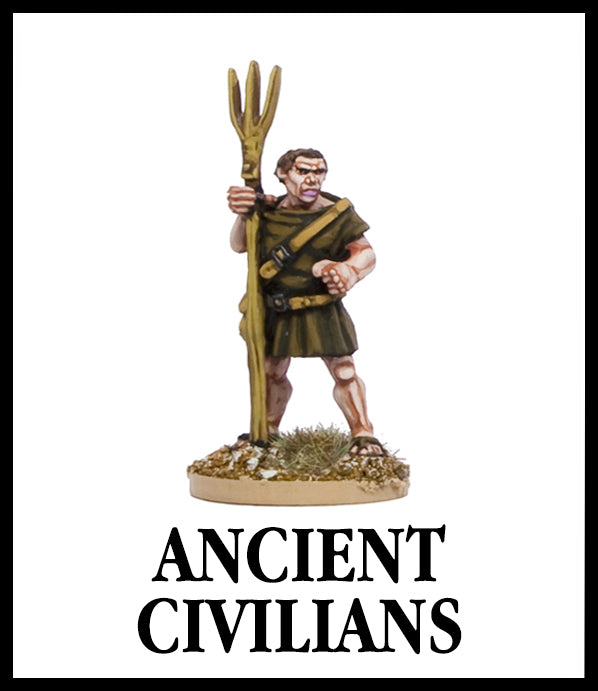28mm scale lead metal miniature toy soldier from Wargames Foundry ancient civilian farmer with tunic and farm instrument