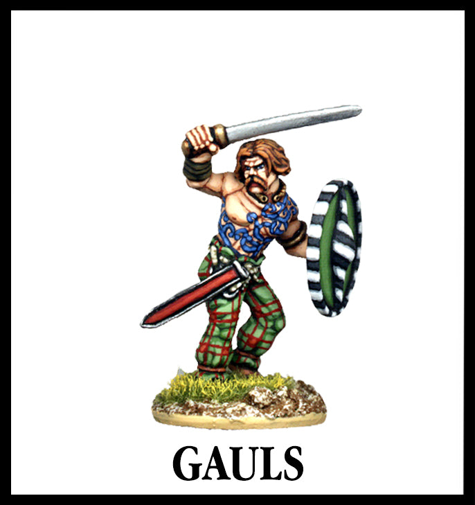 28mm scale lead metal miniature toy soldier from Wargames Foundry gauls warrior gallic character with shield and sword