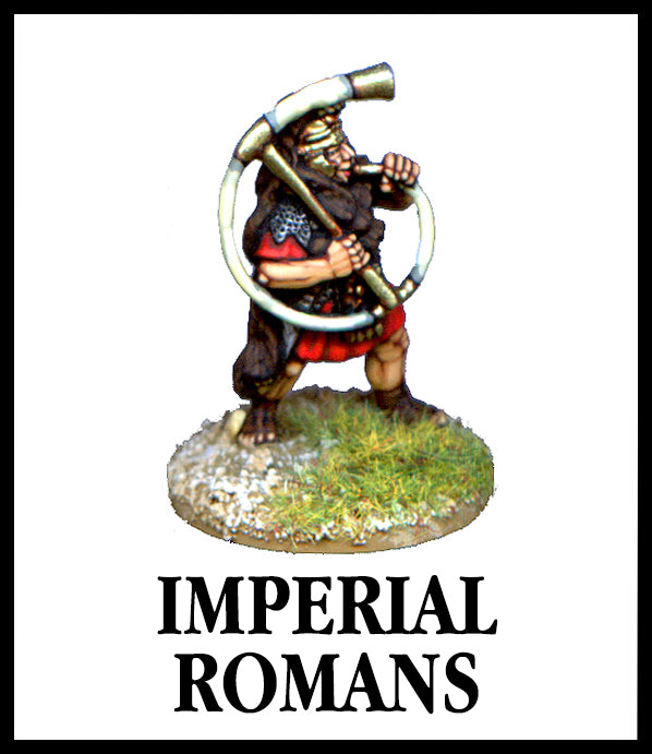 28mm scale lead metal miniature toy soldier from Wargames Foundry imperial roman command figure in authentic dress with large decorative horn