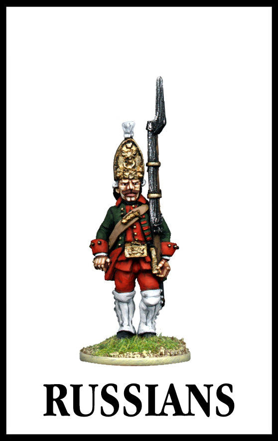 28mm scale lead metal miniature toy soldier from Wargames Foundry Seven Years War Russian Grenadier in uniform
