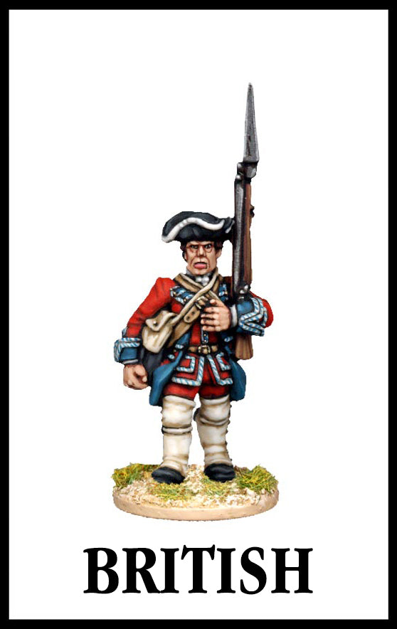 28mm scale lead metal miniature toy soldier from Wargames Foundry Seven Years War British Infantry in uniform with gun standing to attention
