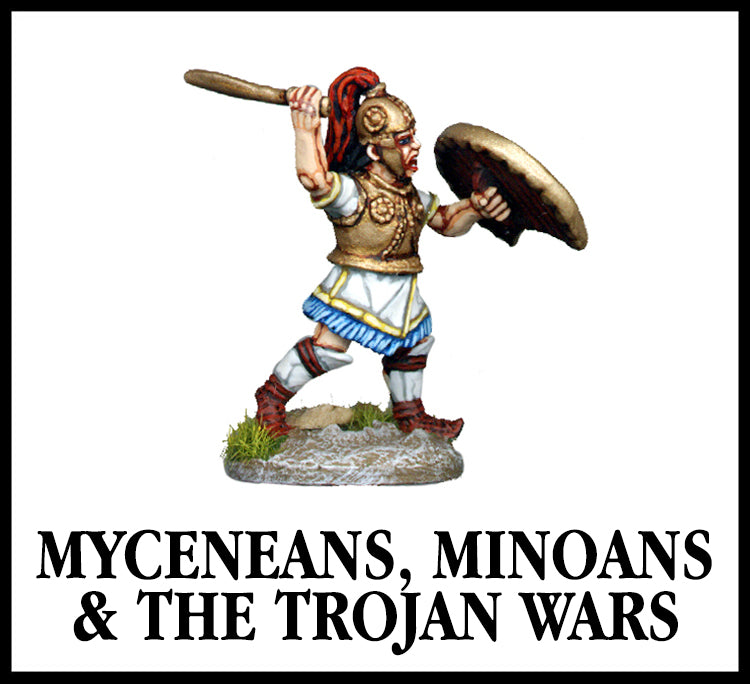 28mm scale lead metal miniature toy soldier from Wargames Foundry Myceneans, minoans and the trojan wars, warrior hero attacking with sword, shield and helmet