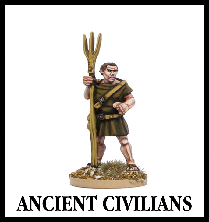 28mm scale lead metal miniature toy soldier from Wargames Foundry ancient civilian farmer with rake/farming equipment and brown tunic