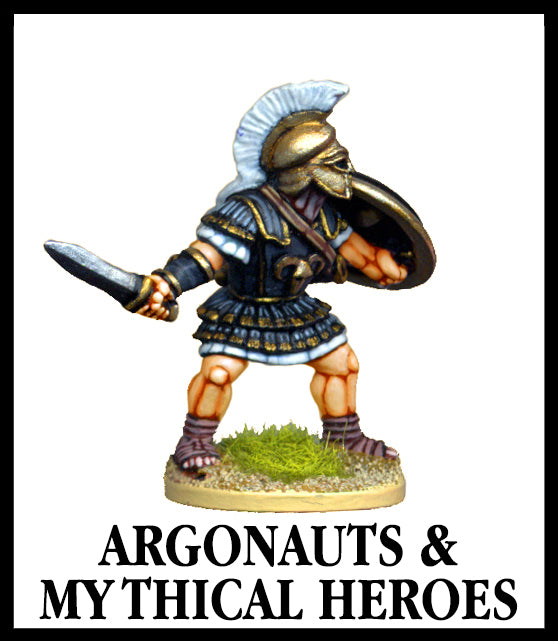 28mm scale lead metal miniature toy soldier from Wargames Foundry World Of The Greeks argonaut/mythical hero in decorative armour with sword, shield and helmet