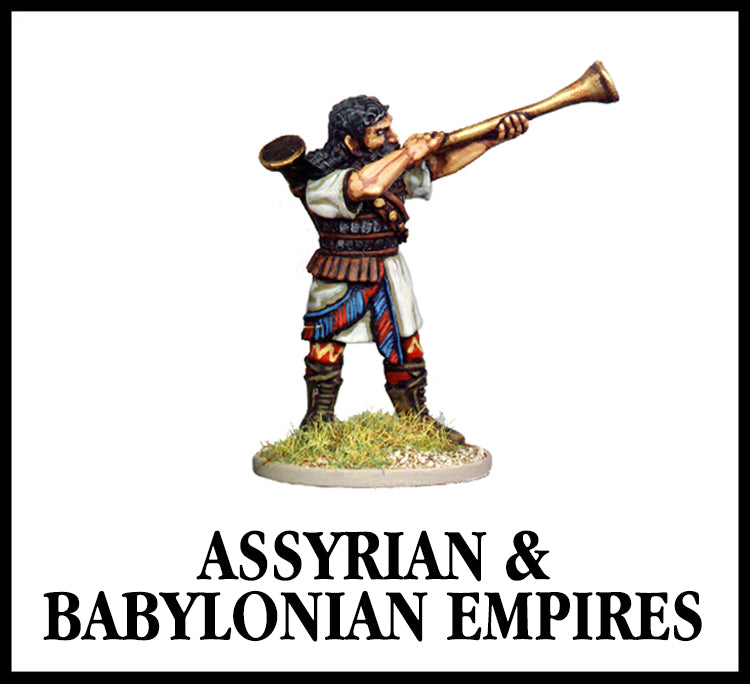 28mm scale lead metal miniature toy soldier from Wargames Foundry biblical era assyrian heavy infantry command blowing horn