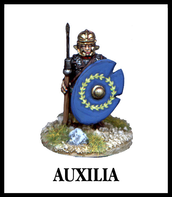 28mm scale lead metal miniature toy soldier from Wargames Foundry Imperial Romans Auxilia standing to attention with spear, helmet and shield