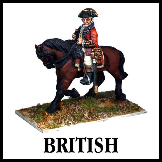 28mm scale lead metal miniature toy soldier from Wargames Foundry American War Of Independence Mounted British high command
