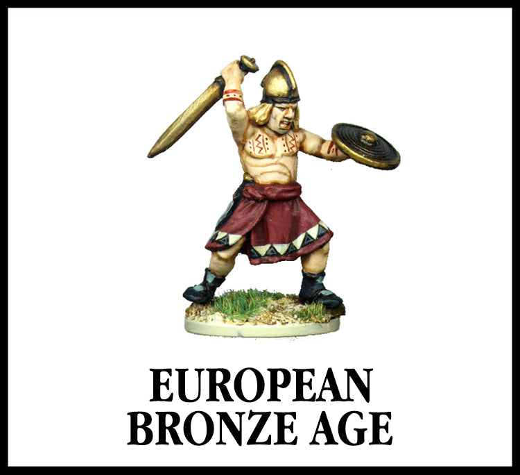28mm scale lead metal miniature toy soldier from Wargames Foundry European Bronze Age Warrior with traditional skirt, helmet, sword and shield.