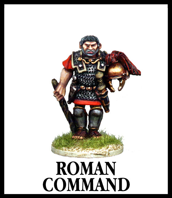 28mm scale lead metal miniature toy soldier from Wargames Foundry Caesarian Roman command model holding helmet with chain mail armour