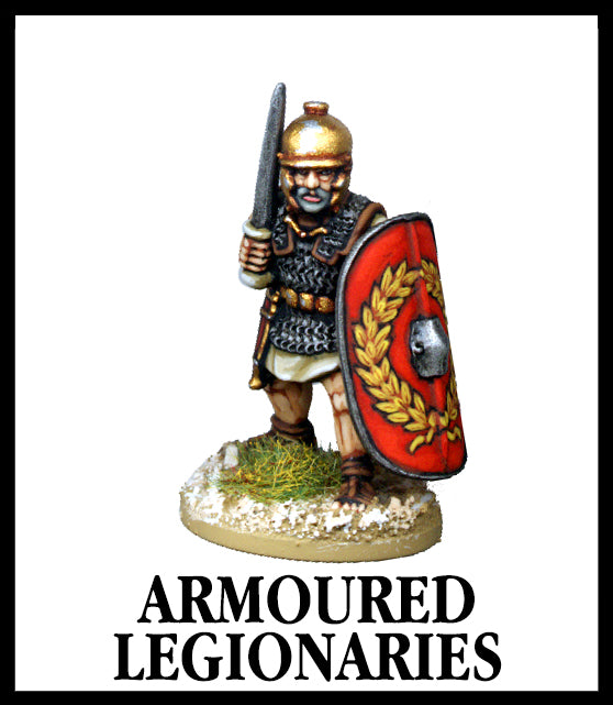 28mm scale lead metal miniature toy soldier from Wargames Foundry Caesarian Romans armoured legionaries with sword, chain mail and helmet