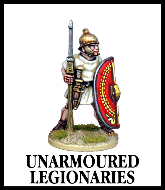 28mm scale lead metal miniature toy soldier from Wargames Foundry Caesarian Romans unarmored legionaries with spear, helmet, dagger in belt and shield