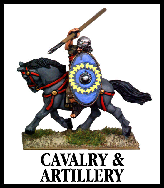 28mm scale lead metal miniature toy soldier from Wargames Foundry Imperial Romans cavalry and artillery mounted soldier on horse with scale armour, shield and spear