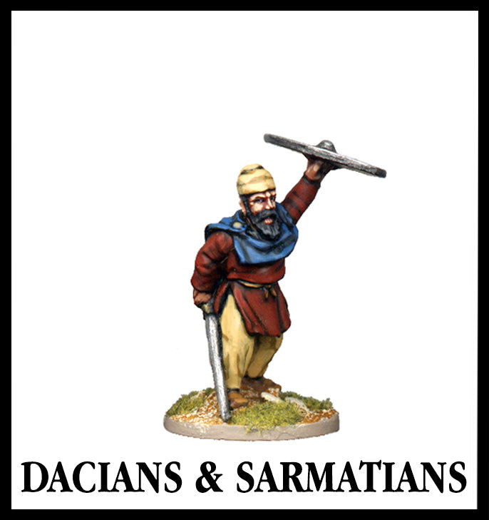 28mm scale lead metal miniature toy soldier from Wargames Foundry Dacians and Sarmatians warrior with sword by side and shield raised in air