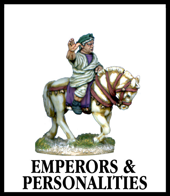 28mm scale lead metal miniature toy soldier from Wargames Foundry Imperial Romans emperor Claudius riding on horse with arm raised in air