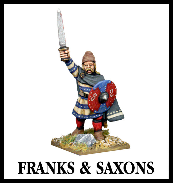 28mm scale lead metal miniature toy soldier from Wargames Foundry frank or saxon command character wearing traditional dress, sword in air and shield by side. Has long hair and beard.