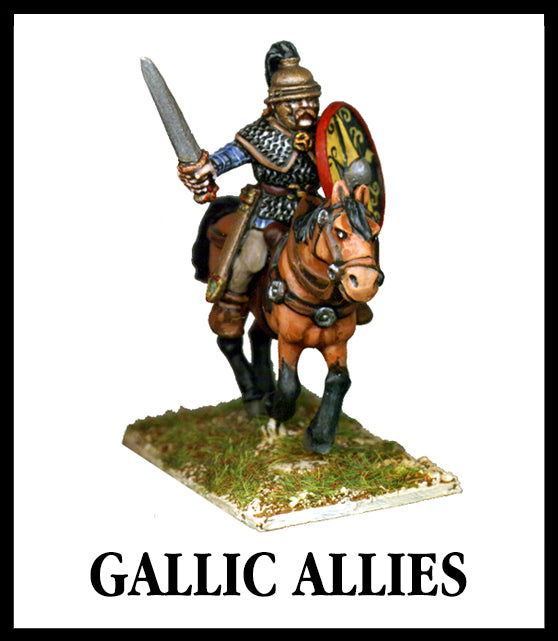 28mm scale lead metal miniature toy soldier from Wargames Foundry Caesarian Romans Gallic Allies mounted Gaul on horse with sword, helmet, chainmail and shield
