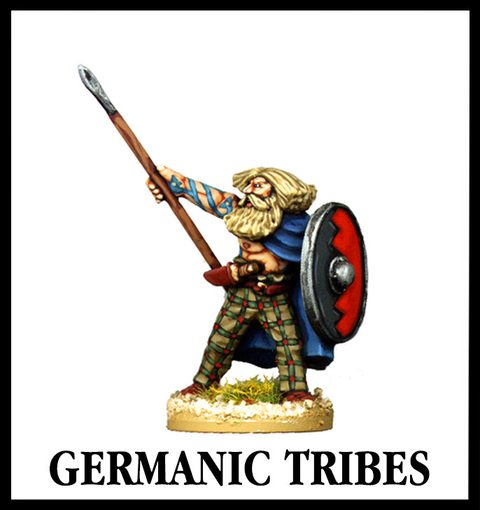 28mm scale lead metal miniature toy soldier from Wargames Foundry germanic tribes ancient chatti warrior with spear in the air